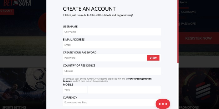 betsofa create an account