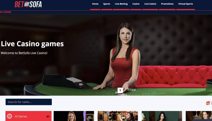 Betsofa live casino games